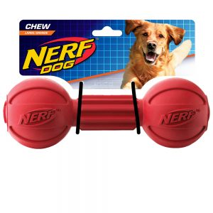 Nerf Barbell Chew Toy Red Medium